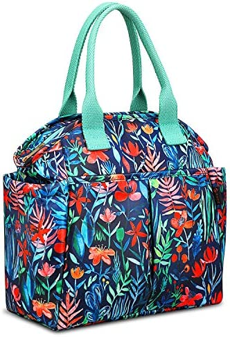 Insulated Lunch Bag FINPAC Reusable Waterproof Cooler Tote BoxFront Side Pockets for Women Girls Kids (Jungle Night)