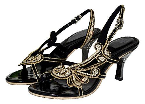 Vibur Heeled Sheepskin Sandals Seven Black Wings Women's Phoenix 6qwa6xUr4