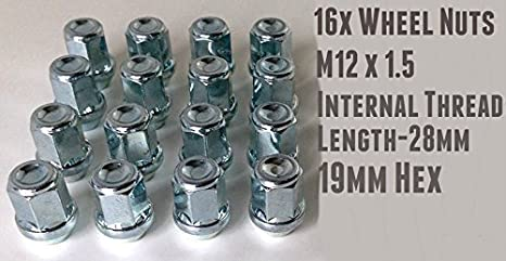 M12 x 1,25 19mm hex alliage écrous de roue set de 16..