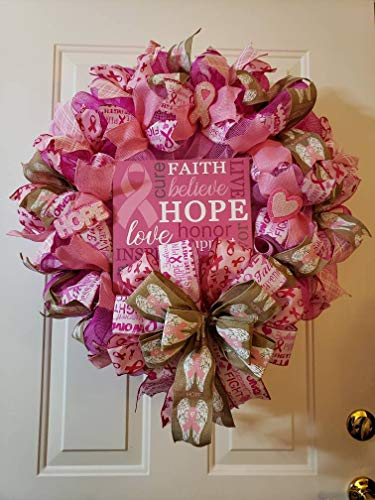 Breast Cancer Wreath, Spreading Awareness, Hope -