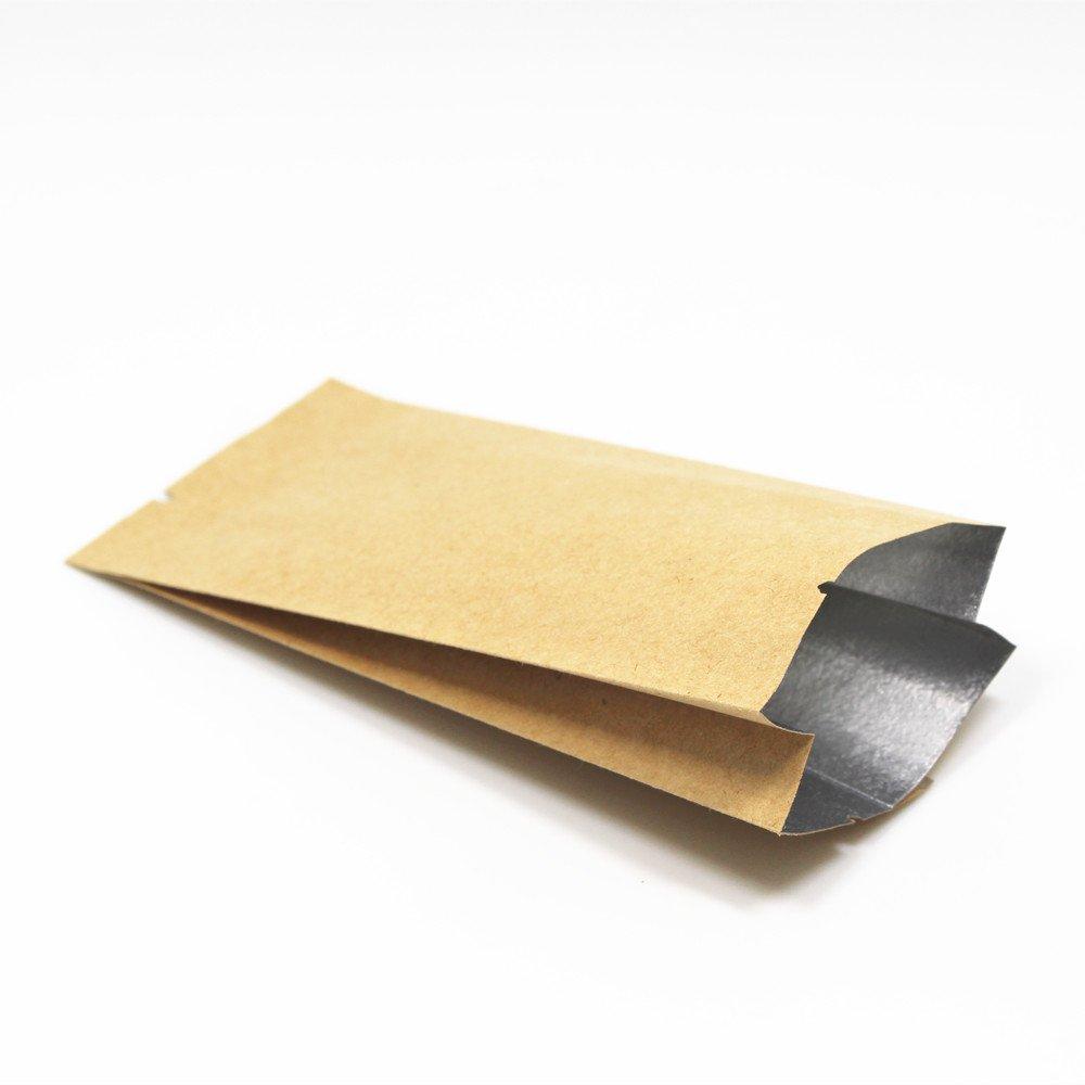 28x9.5x6cm (11.1 x3.7 x2.3 ) Kraft Papier Mylar Aluminium Folie Tasche Orgel Form Öffnen Sie Oberseite Vakuumverpackung Nicht Verschließen Beutel Verpacken Kaffee Nuss Heißgesiegelt Seite Falten Akkordeon Papier Alufolie Tüten