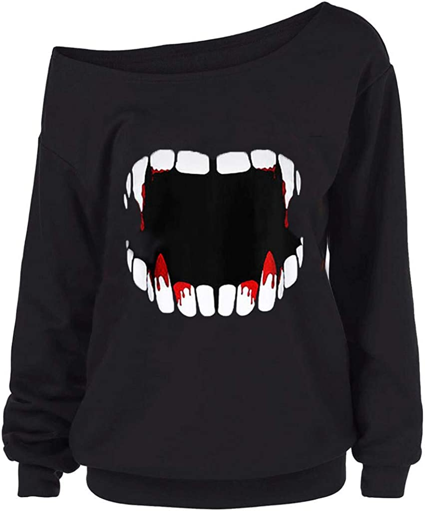 ANJUNIE Women Halloween Funny Pullovers Gothic Punk Devil Teeth Printed Sweatshirt Skew Collar Shirt