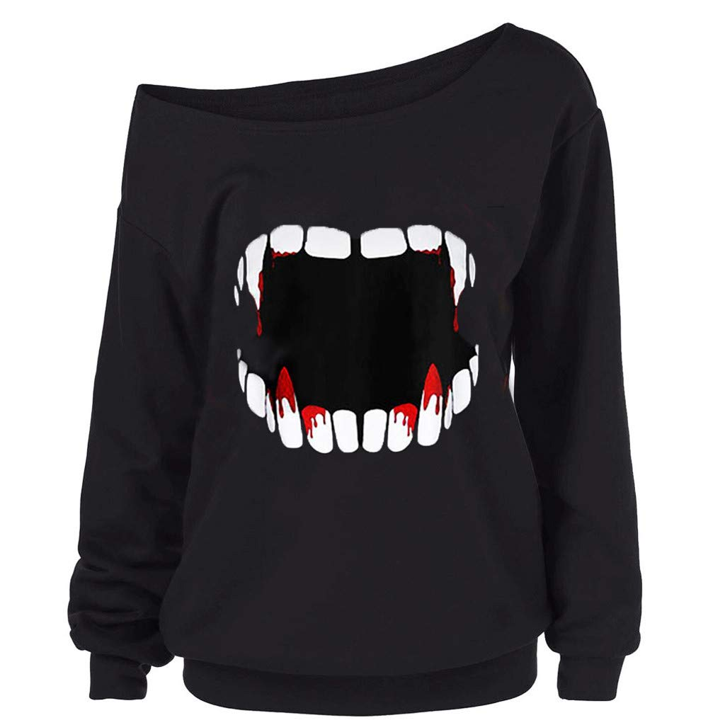 Sunggoko Sweatshirt Halloween Women Halloween Pumpkin Devil Sweatshirt Pullover Tops Blouse Shirt Plus Size