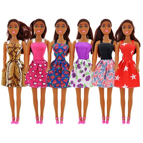 """African-American Dolls, dolls Fashion Dolls, 11"""" Set of 6 With 2 Black Glasses, Clothes, 6 necklaces For your child to play with all day These Fashion Dolls Go with Barbies"""