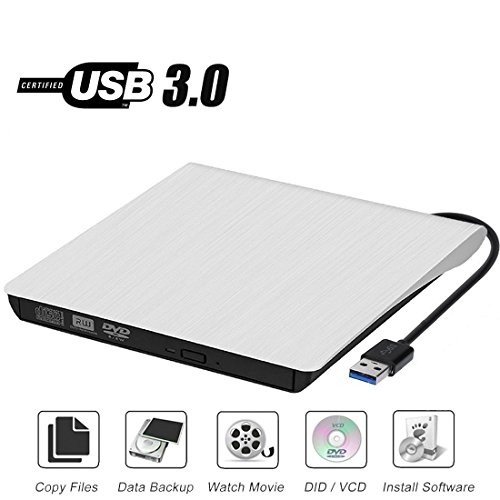 External CD Drive, Sibon USB 3.0 CD/DVD-RW Drive, Slim High Speed CD Player Burner for Macbook Air Pro /Air/ iMac and Laptop Desktops Support Windows/ Vista/7/8.1/10, Mac OSX (white)