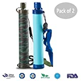 Alberts Filter Personal Water Filter 5 Stage Water Purification Feed Reverse Osmosis Purifier Straw for Hiking Camping Travel and Emergency,Set of 2