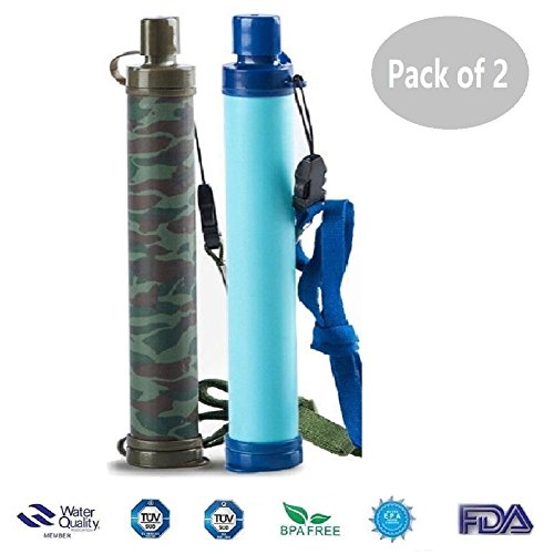 (Alberts Filter Personal Water Filter 5 Stage Water Purification Feed Reverse Osmosis Purifier Straw for Hiking Camping Travel and Emergency,Set of)