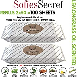 SofiesSecret Pet Wipes for Dogs+Cats, Lemongrass Oil, 100XL (2x50 Count),100% Natural Oils & Extracts, Extra Thick, Ultra Soft, Extra Large, Cruelty Free & Vegan, All in ONE Grooming