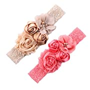 Ever Fairy Chiffon Lace Flower Baby Girls Turban Headband Head Wrap Hair Band With Pearl(2 Pack)