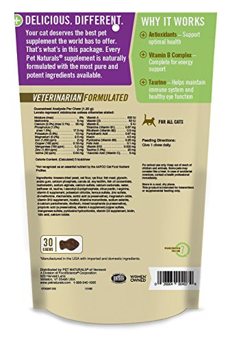Image of Pet Naturals Daily Multi for Cats, Multivitamin Formula, 30 Bite Sized Chews