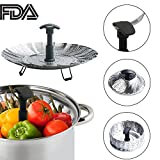 Large Steamer Basket Stainless Steel Vegetable Food Pasta Steamer Folding Collapsible Basket for Various Size Pots(7.1 inches to 11 inches)(Black)