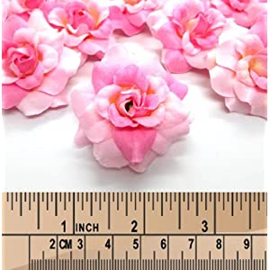 "(100) Silk Two Tone Light Pink Roses Flower Head - 1.75"" - Artificial Flowers Heads Fabric Floral Supplies Wholesale Lot for Wedding Flowers Accessories Make Bridal Hair Clips Headbands Dress 4"