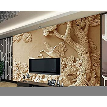 Image of Ai Ya-bihua 3D Wallpaper Stereo Relief Tree Mural TV Background Wall Living Room Bedroom Background murals Wallpaper for Walls 3 d Home and Kitchen