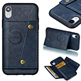 Shinyzone Case for iPhone XR,iPhone XR Women Men Wallet Case with Card Slot Holder,Flip Leather PU Back Cover with Magnetic Buckle Closure Compatible with Magnetic Car Mount,Blue