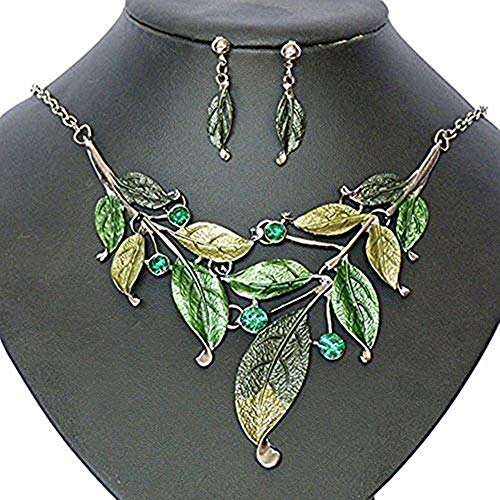 Costume Jewelry Formal (Seven And Eight S&E Women's Exaggerative Vintage Leafs Shape Crystal Joint Chain Collar Pendant Necklace Sets (Green))