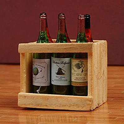Gracefulvara 6 Pcs Doll House Accessories Mini Wine Bottles with Wooden Frame: Toys & Games