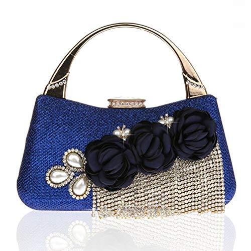 en Soirée Gshe Pochette Main À Soirée Pochette Femme Strass Mariage Fleurs Sac Frangées blue Bag Pochette du Soir qrwqz46fR