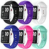 Sundo Soft Silicone Band for Apple Watch 38mm 42mm,Classic Replacement Wrist Strap Bracelet Band for Apple Watch Nike+ Sport Edition Series 1 Series 2 Series 3(colorful-6 38mm S/M)