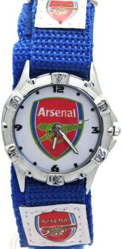 Timermall Arsenal FC Blue Fabric Velcro Strap Analogue Sport Watch