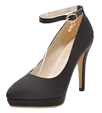 86106c7dc24ad SHOWHOW Women's Elegant Platform Pointy Toe High Heels Ankle Strap Pump  Black 4 B(M