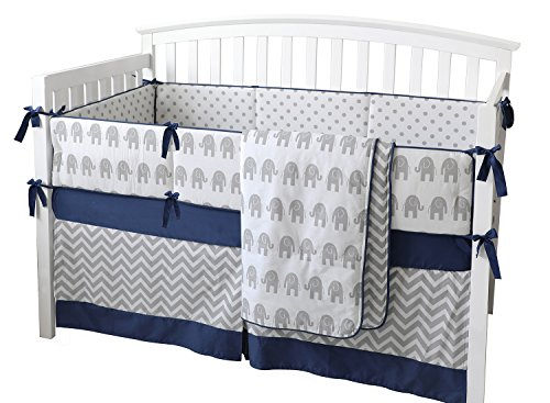 7 Pieces Set Elephant Crib Bedding Baby Bedding Set Sweet Navy Grey Chevron Baby Nursery Crib Bumper by sunny bunny