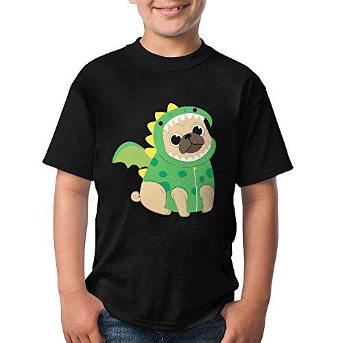 TXYHDX11 Gift For Big Girl& Big Boy - Cute Pug With Dragon Costume Short Sleeve Crew-Neck T-Shirt ()