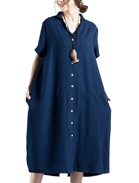 Mallimoda Las Mujer Vestido De Botón De Blusa De Verano Azul Oscuro