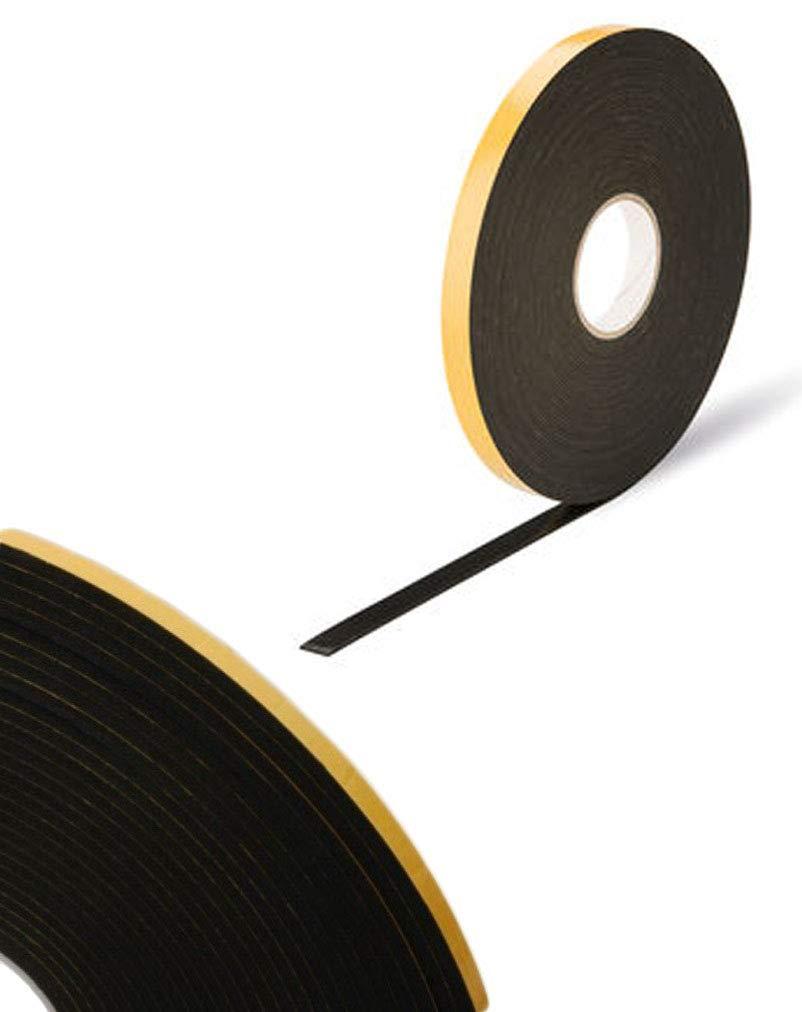 Virtual Plastics vetrature nastro biadesivo in schiuma nastro per lavori artigianali 2 mm x 10 mm x 25 m per sicurezza colore nero