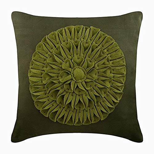 The HomeCentric Designer Green Pillow Cases, Dahlia Flower Floral Theme Pillows Cover, 20