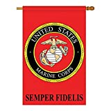 Two Group – Marine Corps Americana – Everyday Military Applique Decorative Vertical House Flag 28″ x 44″ For Sale