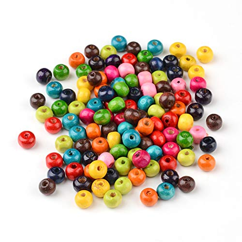 Kissitty 200pcs Dyed Round Wood Beads Random Mixed Color 7mm 0.3