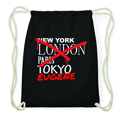 JOllify EUGENE Hipster Turnbeutel Tasche Rucksack aus Baumwolle - Farbe: schwarz Design: Grafitti