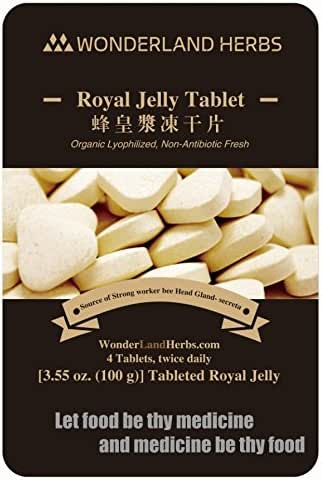 5 Pouches x 100 Grams Organic Royal Jelly lyophilized Powder Made Tablets, 6% 10-Had, Energy Herb