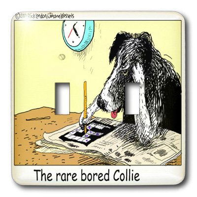 lsp_1469_2 Londons Times Funny Dogs Cartoons - Bored Border Collie - Light Switch Covers - double toggle switch
