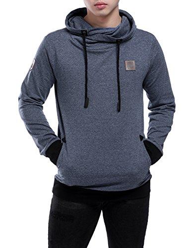 HEQU Men's Casual Long Sleeve Sweatshirt Side Pockets Funnel Neck Drawstring Hoodie Blue, M ()
