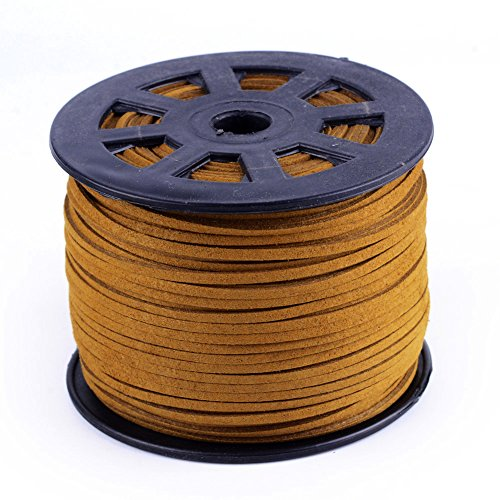 Sandy Brown Leather (Nbeads 100 Yards Roll 3mm Wide Jewelry Making Beading Craft Thread Flat Micro Fiber Faux Suede Leather Cord String (Sandy Brown))