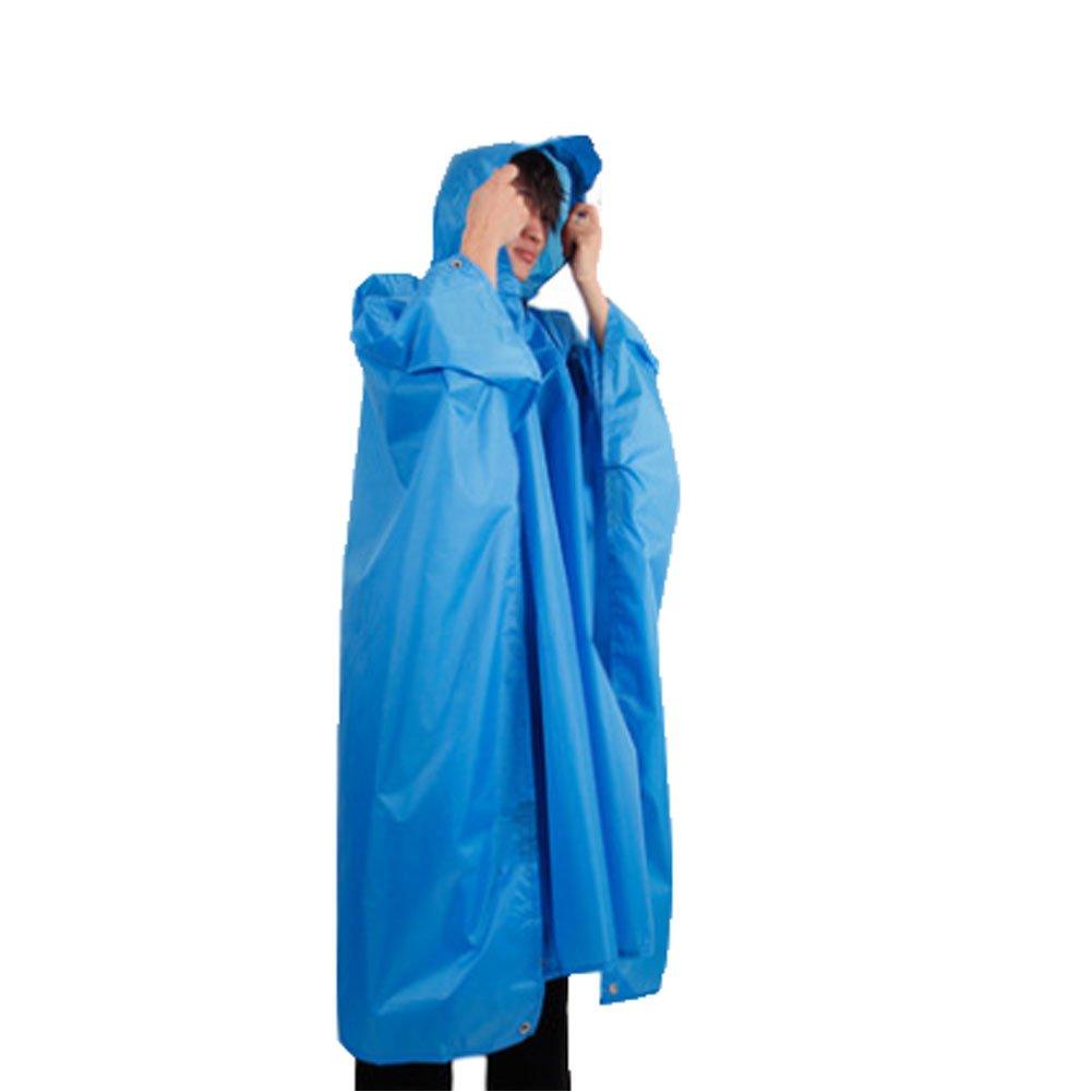 一体型レインコートポンチョ雨ケープアウトドアハイキングキャンプ(ブルー)   B00Y4B6R3U