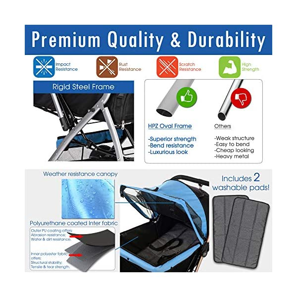 HPZ Pet Rover Premium Heavy Duty Dog/Cat/Pet Stroller Travel Carriage with Convertible Compartment/Zipperless Entry/Reversible Handlebar/Pump-Free Rubber Tires for Small, Medium, Large Pets 3