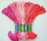 New ThreadNanny 50 Skeins of Silky SATIN Hand Embroidery Cross Stitch Floss Threads - PINK TONES