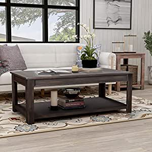 Merax Rectangle Coffee Table Rustic Style Solid Wood+MDF Coffee Table for  Living Room with Open Shelf Easy Assembly