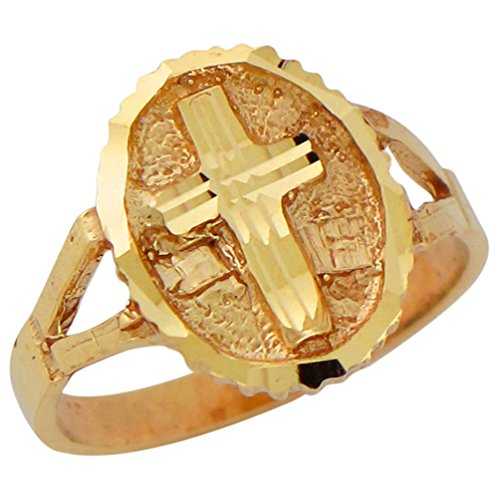 10k Yellow Gold Ladies Diamond Cut Oval Top Latin Cross Religious Ring