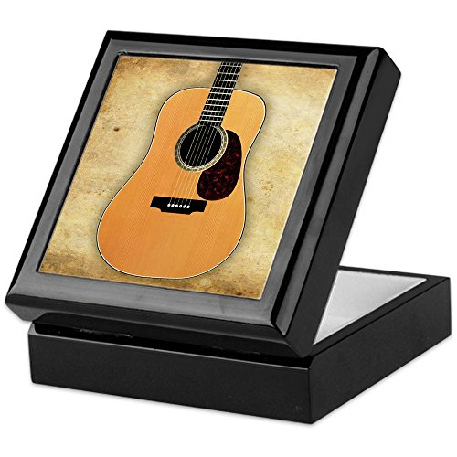 Hardwood Gift Box (CafePress - Acoustic Guitar - Keepsake Box, Finished Hardwood Jewelry Box, Velvet Lined Memento Box)