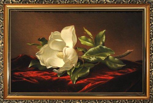 (FRAMED Magnolia Grandiflora by Martin Johnson Heade HAND GELCOATED TEXTURED 25x15.5 Art Print Poster MFA Museum Masterpiece Still Life White Southern)