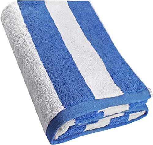 Utopia Towels 35x70 Inches Beach Towel - Cabana Stripe Large Pool Towel - Extra Large Bath Sheet, Blue - 2 Pack