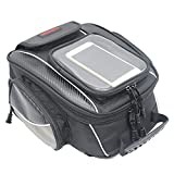 "Motorcycle Tank Bag Waterproof with Strong Magnetic Motorbike Bag for Honda Yamaha Suzuki Kawasaki Harley (Black, 13.7"" * 11.8"" * 6.6"", Medium)"