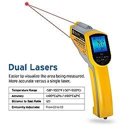 Etekcity Lasergrip 1025D Digital Dual Infrared Laser Thermometer Temperature Gun -58?~1022? (-50?~550?) with Adjustable Emissivity, Non-Contact Voltage Tester (NCV)