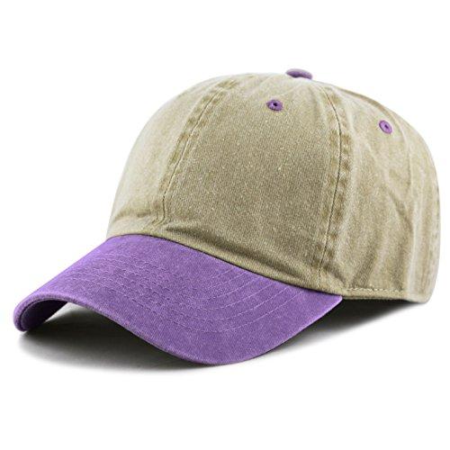 THE HAT DEPOT 100% Cotton Pigment Dyed Low Profile Six Panel Cap Hat (Khaki/Purple) (Pigment Mens)
