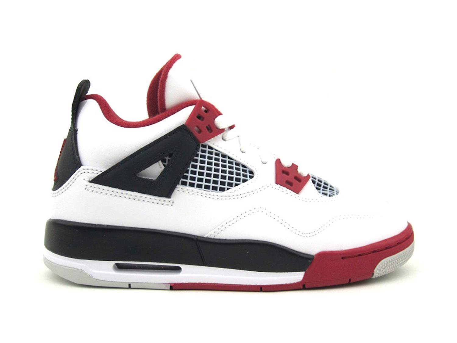 Amazon.com | Air Jordan 4 Retro (GS) White/Varsity Red-Black | Basketball