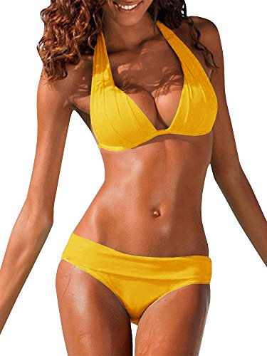 Womens Halter Padded Top Push up Bikini Set Two Piece Bathing Suit, Yellow, Large ()
