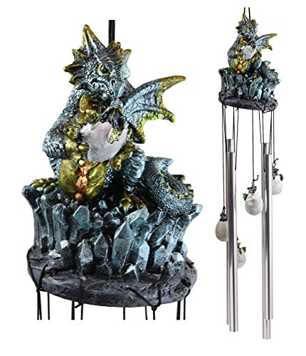 Ebros Gift Medieval Blue Dragon Egg Hatchling Standing On Crystal Rocks Figurine Crown Top Resonant Wind Chime with Miniature Wyrmlings Ornaments for Garden Patio Home Fantasy Dungeons and Dragons (Dragon Sleeping Ornament Garden)